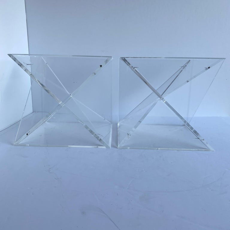 Pair of Small Square Mid-Century Modern Lucite Side Table Bases For Sale 5
