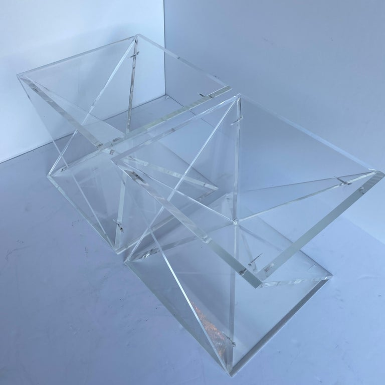 Pair of Small Square Mid-Century Modern Lucite Side Table Bases For Sale 6