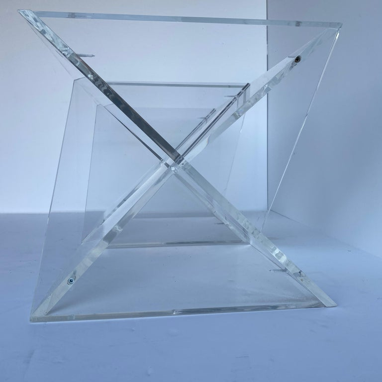 Pair of Small Square Mid-Century Modern Lucite Side Table Bases For Sale 7