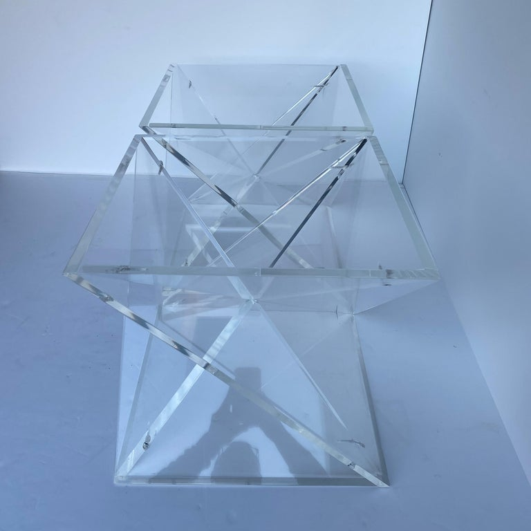 Pair of Small Square Mid-Century Modern Lucite Side Table Bases For Sale 8