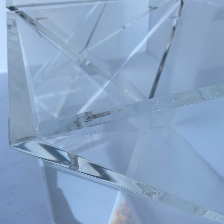 Pair of Small Square Mid-Century Modern Lucite Side Table Bases For Sale 9