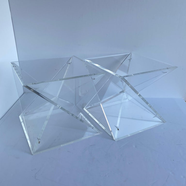 Pair of Small Square Mid-Century Modern Lucite Side Table Bases For Sale 13