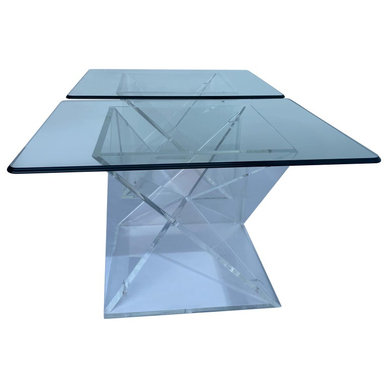 Hand-Crafted Pair of Small Square Mid-Century Modern Lucite Side Table Bases For Sale