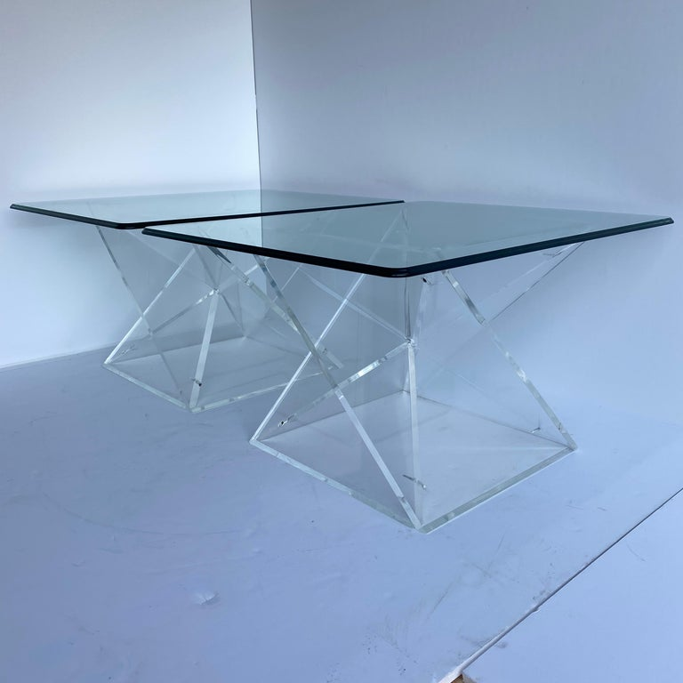 Pair of Small Square Mid-Century Modern Lucite Side Table Bases For Sale 1
