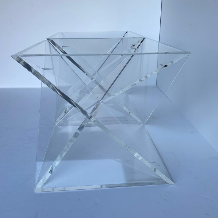 Pair of Small Square Mid-Century Modern Lucite Side Table Bases For Sale 2