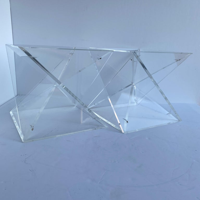 Pair of Small Square Mid-Century Modern Lucite Side Table Bases For Sale 3