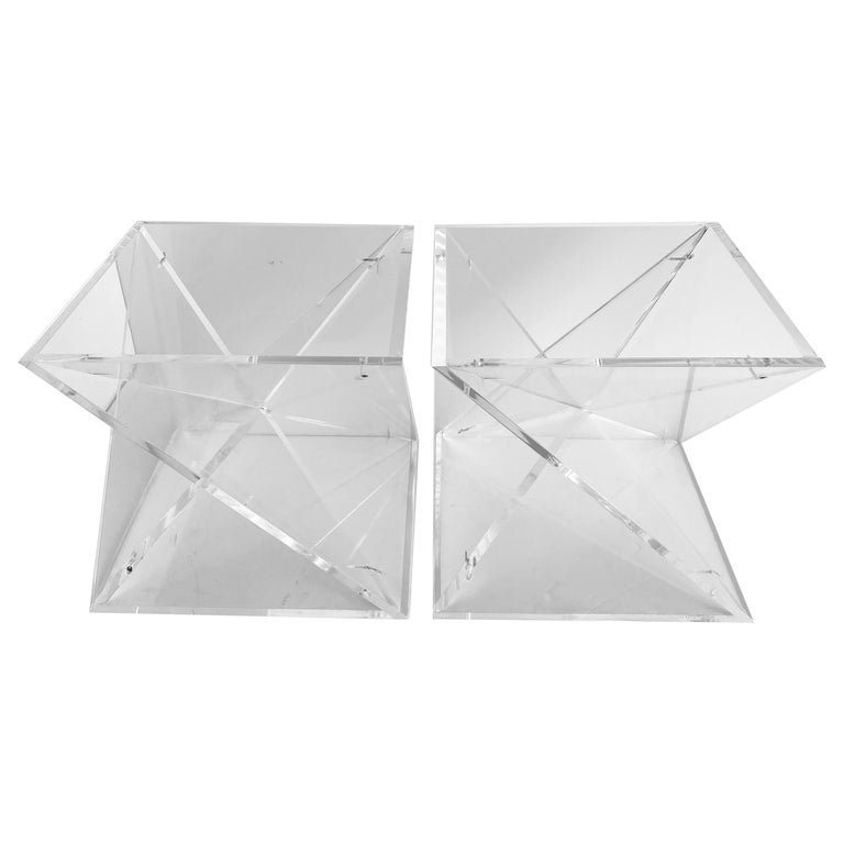 Pair of Small Square Mid-Century Modern Lucite Side Table Bases For Sale