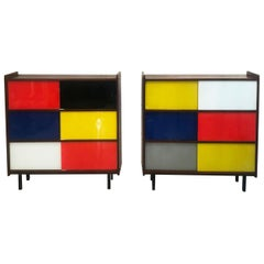 Pair of Small Storage Furniture in De Stijl or Mondrian Style