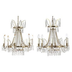 Pair of Small Swedish Six-Light Chandeliers with Brass Frames, Empire Style