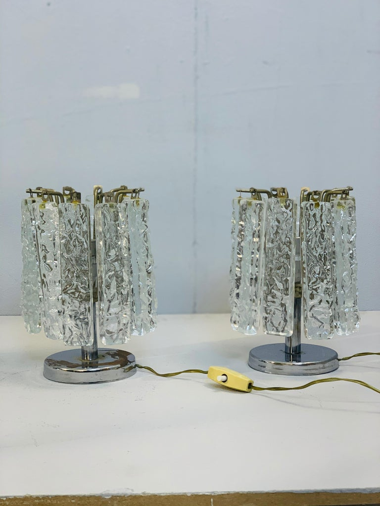 Pair of small table lamps attributed to Venini, circa 1960.