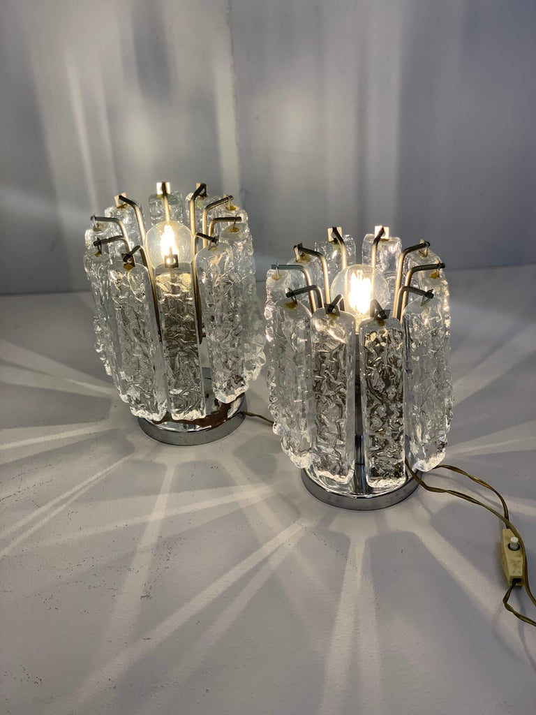Glass Pair of Small Table Lamps Attributed to Venini, circa 1960 For Sale