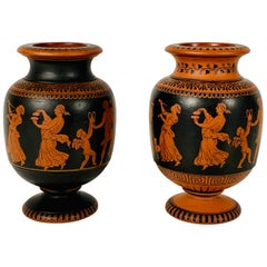 Pair of Small Terracotta Vases showing Classical Figures Made in England