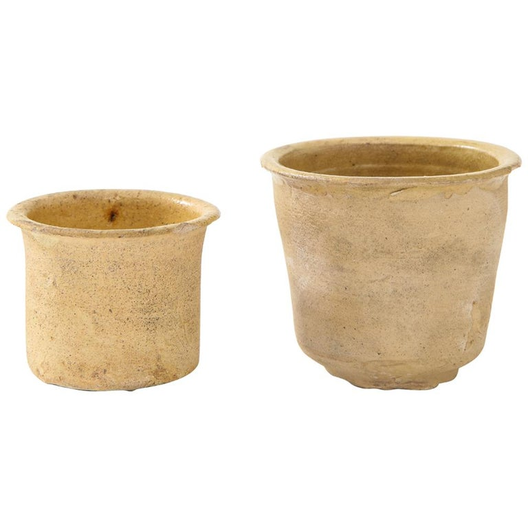 Pair of Small Very Thin Delicately Formed Ceramic Pots, Netherlands For Sale