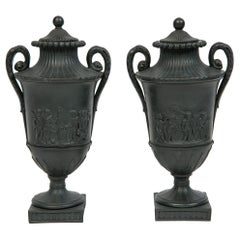 Pair of Small Wedgwood Black Basalt Vases Made circa 1800