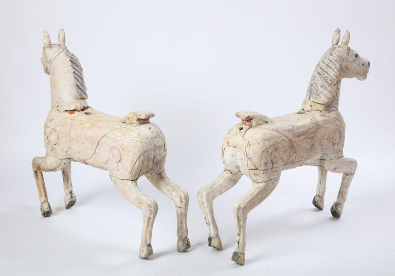 Pair of Small White-Painted Carousel Horses, 20th Century For Sale 11