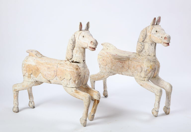 Pair of Small White-Painted Carousel Horses, 20th Century For Sale 12