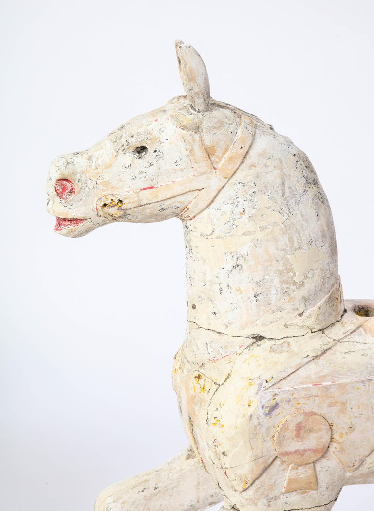 Wood Pair of Small White-Painted Carousel Horses, 20th Century For Sale