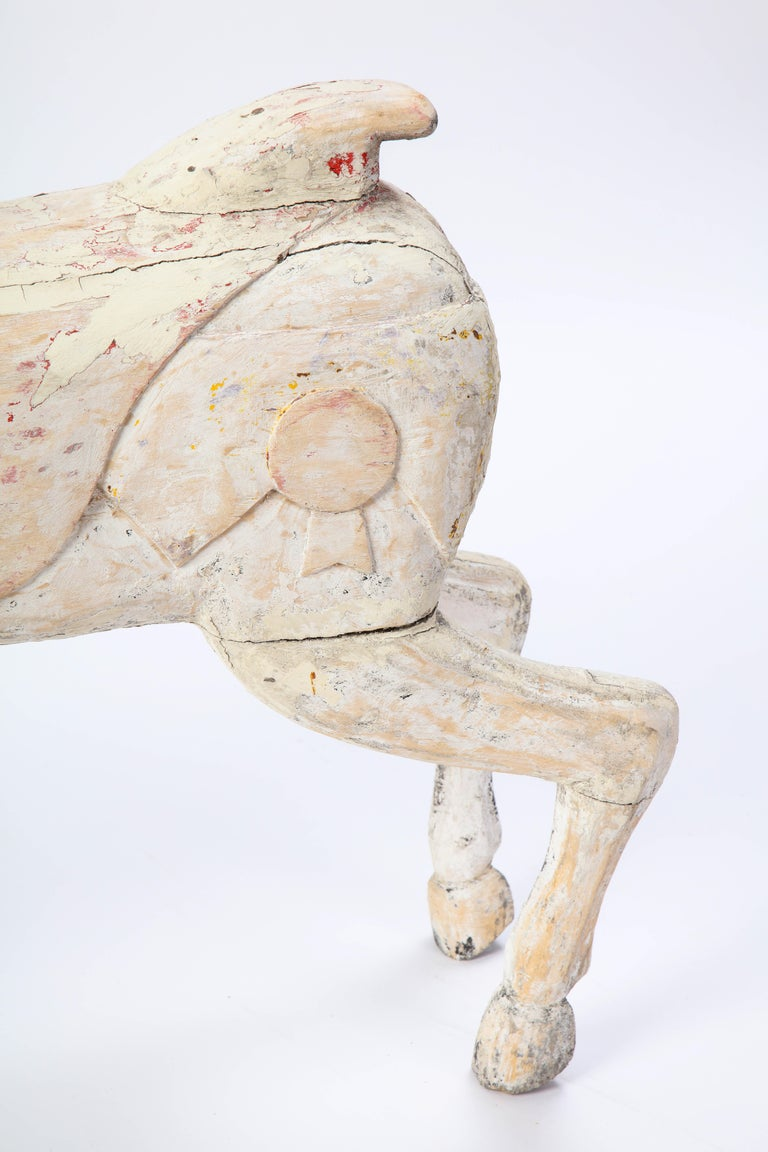 Pair of Small White-Painted Carousel Horses, 20th Century For Sale 2