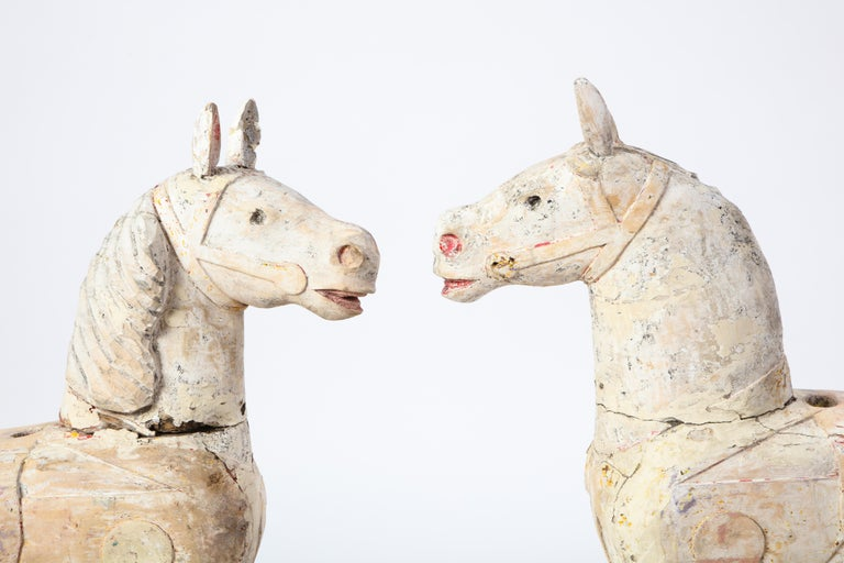 Pair of Small White-Painted Carousel Horses, 20th Century For Sale 5