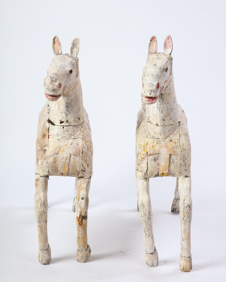Pair of Small White-Painted Carousel Horses, 20th Century For Sale 6
