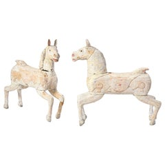 Pair of Small White-Painted Carousel Horses, 20th Century
