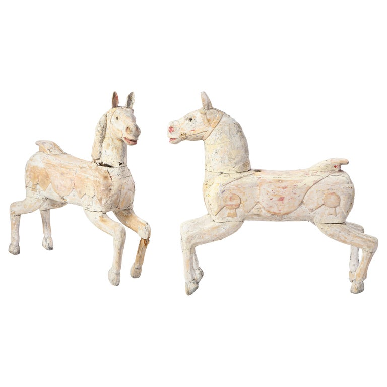 Pair of Small White-Painted Carousel Horses, 20th Century For Sale