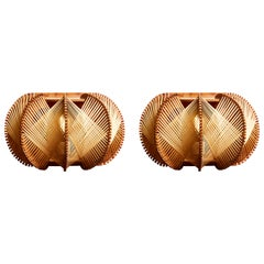 Pair of Small Wood and Ropes Round Wall Sconces