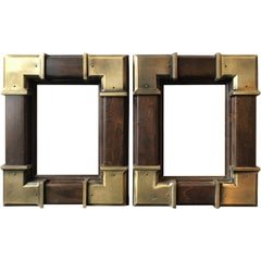 Pair of Small Wood Frames with Brass Accents