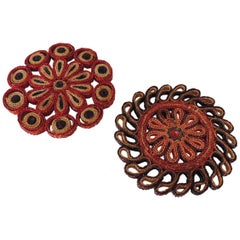 Pair of Small Woven Abaca Round Tribets