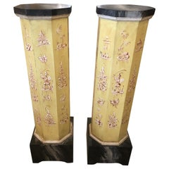 Pair of Smashingly Dramatic Faux Painted Vintage Architectural Columns