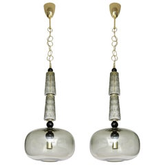 Pair of Smoke Taupe Grey Murano Glass Globes and Brass Pendants, Italy