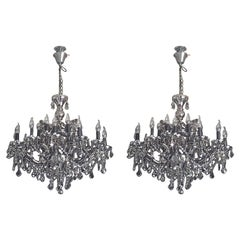 Pair of Smoked Crystal Chandeliers