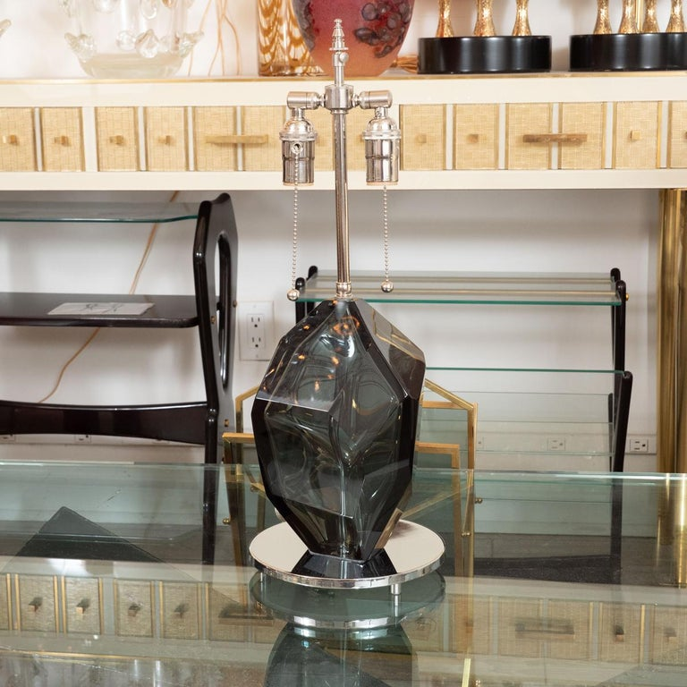 Pair of smoked, faceted Murano glass fragment table lamps with polished nickel hardware.