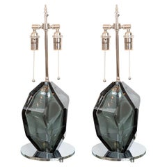Pair of Smoked Faceted Murano Glass Lamps