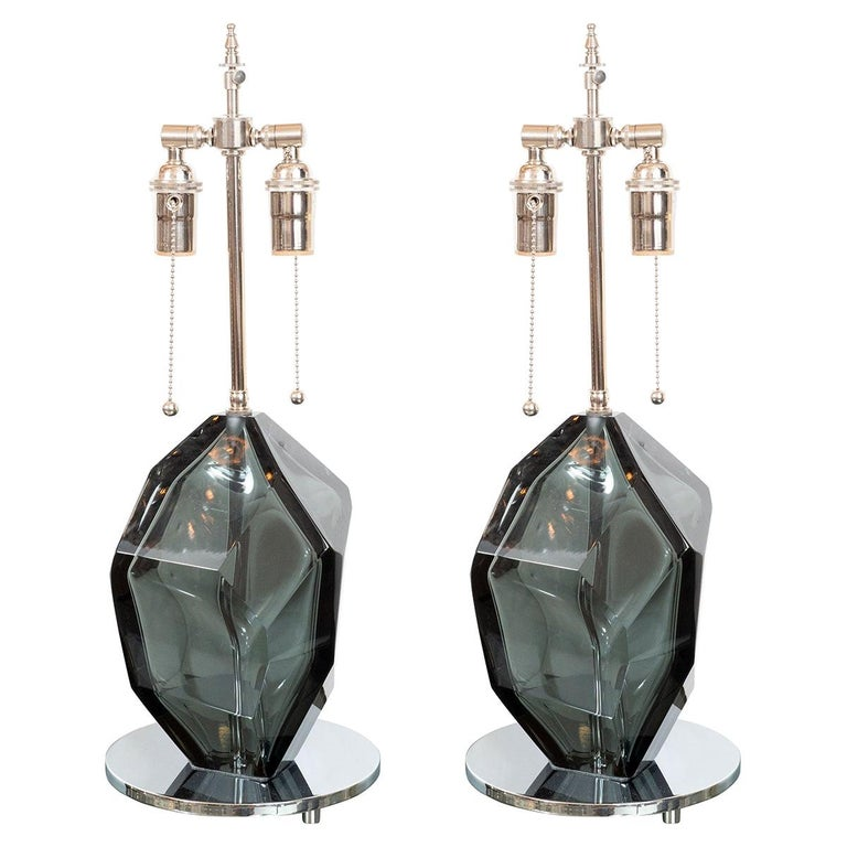 Pair of Smoked Faceted Murano Glass Lamps For Sale