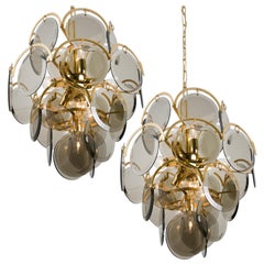 Pair Of Smoked Glass and Brass Chandeliers in the Style of Viscosi, Italy, 1970