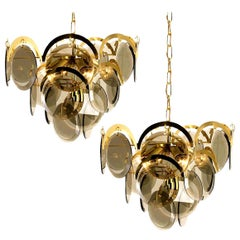 Pair of Smoked Glass and Brass Chandeliers in the Style of Vistosi, Italy, 1970