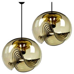 Pair of Smoked Glass Light Fixtures Koch & Lowy, 1970