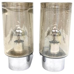 Pair of Smoked Glass Tube Sconces Vintage German, 1970s, Glashütte Limburg