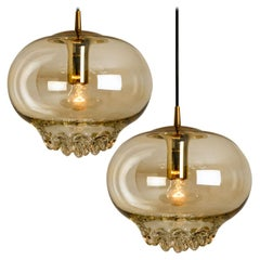 Pair of Smoked Golden/Brown Pendant Lights by Peill and Putzler, 1960s