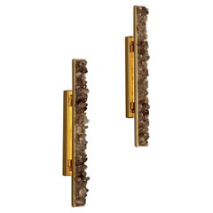 "Pair of Smoked Quartz ""Carbonite"" Wall Lamp, Waldir Junior"