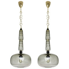 Pair of Smoked Taupe Grey Murano Glass and Brass Pendants, Italy, 2020