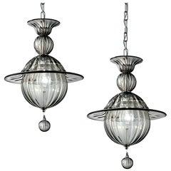 Pair of Smokey Murano Glass Pendant Lights