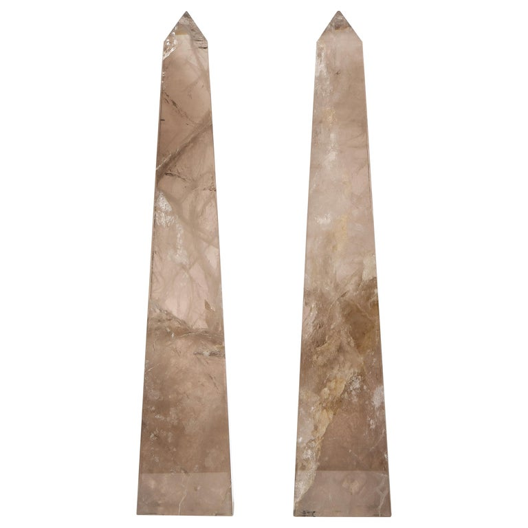 Pair of Smokey Rock Crystal Quartz Hand Carved and Hand-Polished Obelisks For Sale
