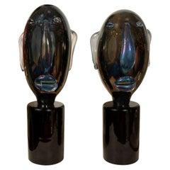 Pair of Smoky Glass Head Sculptures