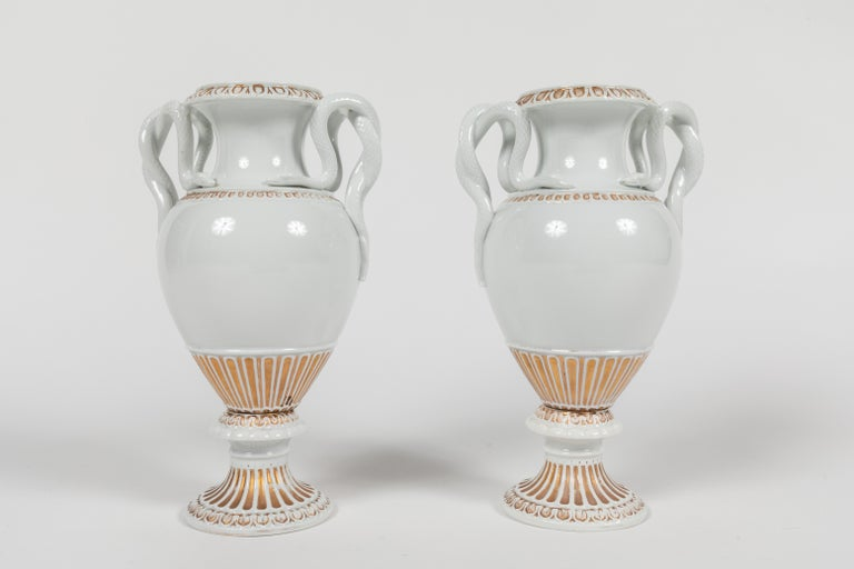 Empire Pair of Snake Handled Meissen Urns For Sale
