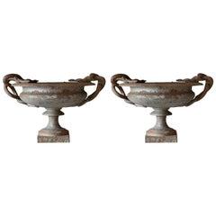 Pair of Snake Vases, Iron, French, Europe, circa 1840-1860, Snake Handles