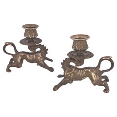 Pair of Solid Brass Antique Dragons Candleholders