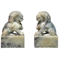 Pair of Soapstone Buddhist Lions