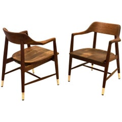 Pair of Solid American Midcentury Walnut Sculpted Armchairs with Brass Tips